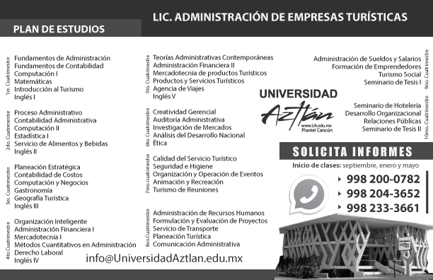 UniversidadAztlanCancun Plan LIC turismo